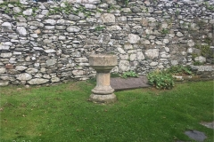Font in the ruin part of the church